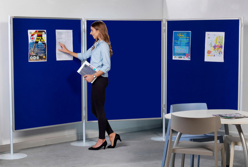 Xib-it Pole and Panel Multi-Board with Aluminium Frame - blue - in office.