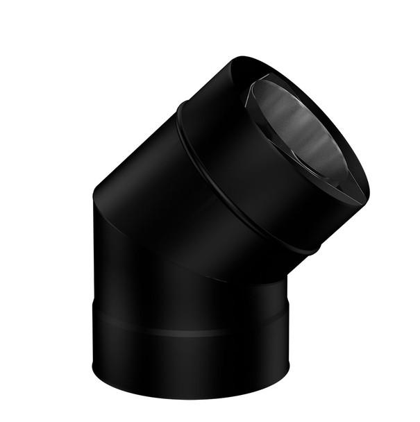 Matt Black Gas Fire 45˚ Bend 100-150mm