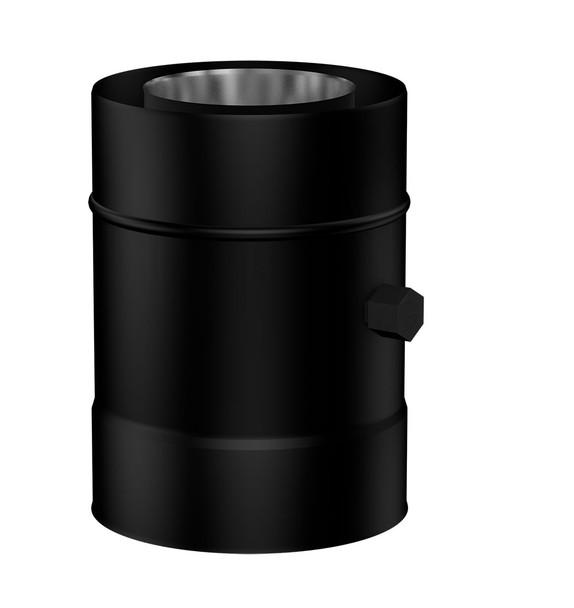 Matt Black Gas Fire 200mm Length with Measurement Connector 100-150mm