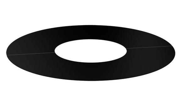 Matt Black Gas Fire Cover plate 0° 2 Part Round 100-150mm