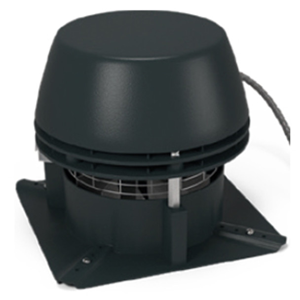 Horizontal discharge chimney fan with axial vane impeller and built-in pressure switch
