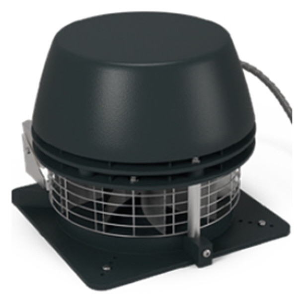 Horizontal discharge chimney fan with centrifugal impeller