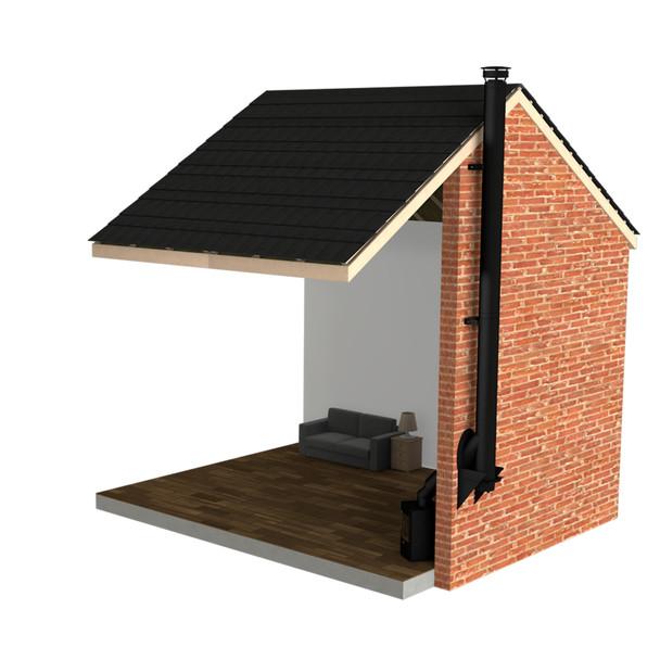 "Twin Wall Flue Kit - 5"" Matt Black - Single Storey External System"