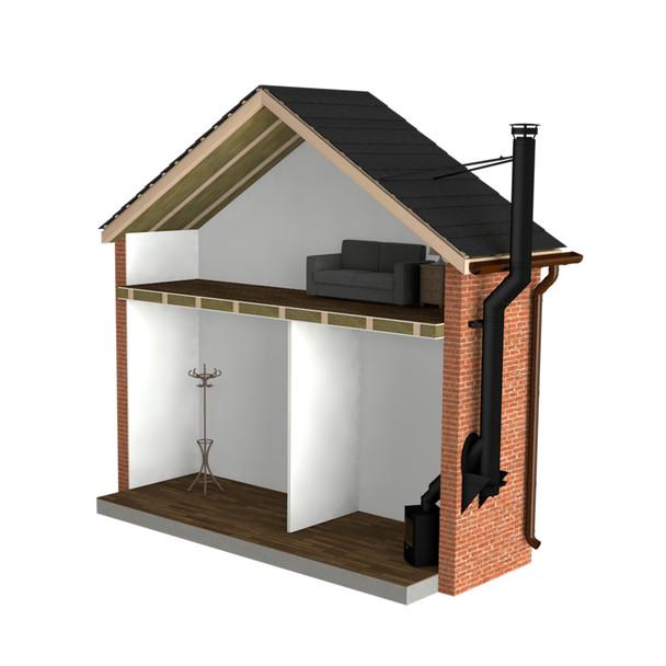 "Twin Wall Flue Kit - 5"" Matt Black - Single Storey External System with Offset"