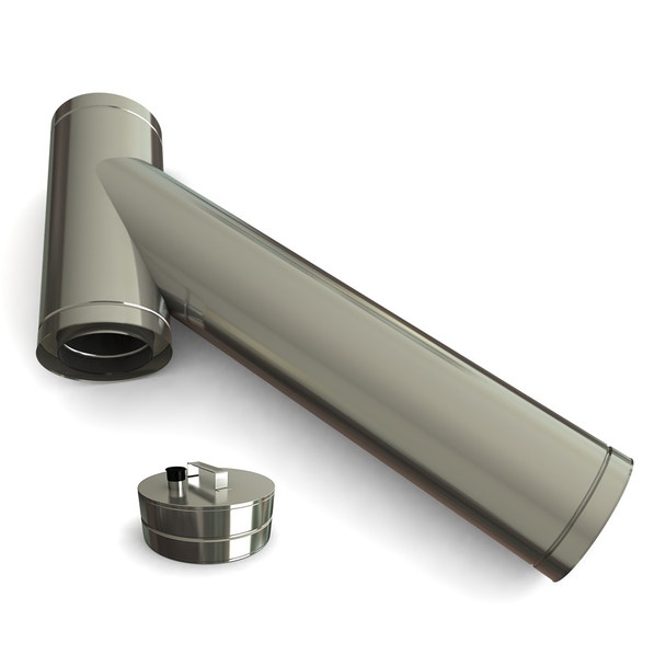 """5"""" Stainless Steel Twin Wall Long Branch Tee 45 Degrees Including Soot Collector With Drain"""