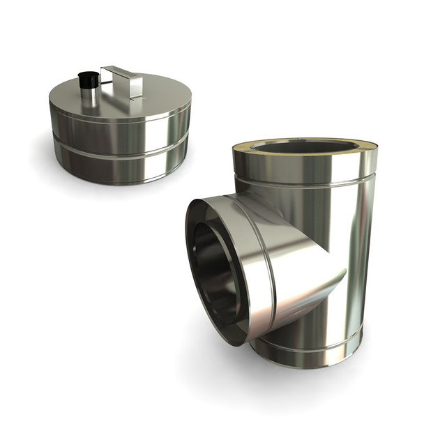 """7"""" 90 Degrees Tee Including Soot Collector With Drain Stainless Steel Twin Wall"""