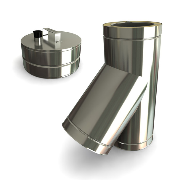 """7"""" 45 Degrees Tee Including Soot Collector With Drain Stainless Steel Twin Wall"""