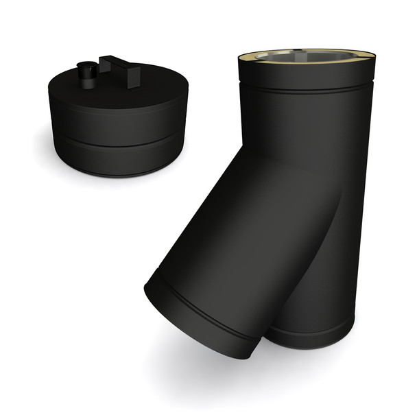 """6"""" 45 Degrees Tee Including Soot Collector With Drain Black Twin Wall"""