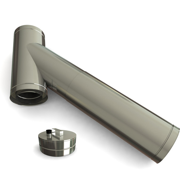 """6"""" 45 Degrees Adjustable Long Branch Tee Including Soot Collector With Drain Stainless Steel Twin Wall"""