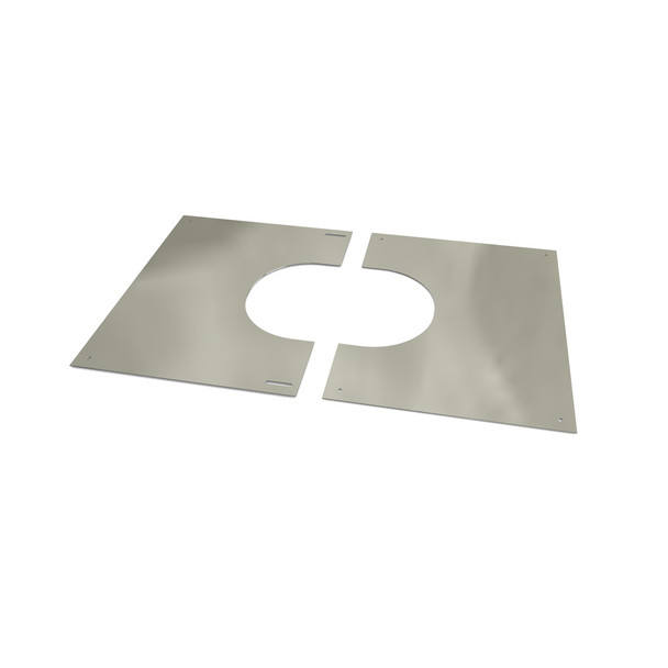 """5"""" Decorative 2 Part Square Finishing Plate 0 - 30 Degrees Stainless Steel Twin Wall"""