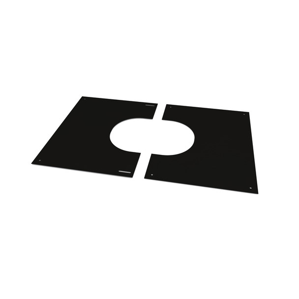 """5"""" Decorative 2 Part Square Finishing Plate 0 - 30 Degrees Black Twin Wall"""