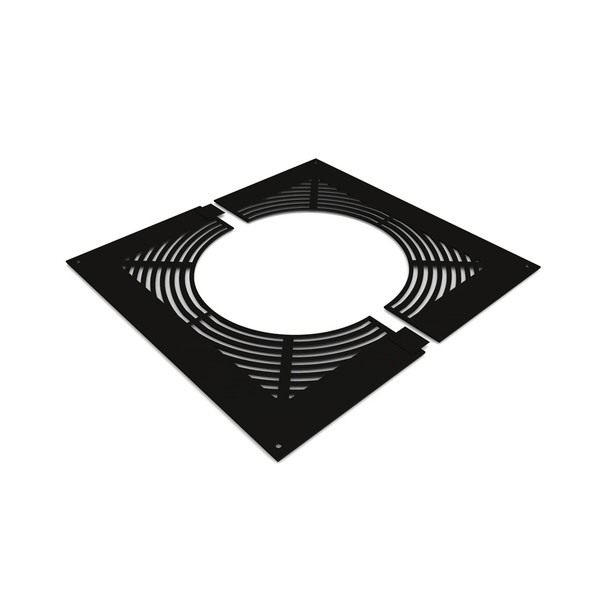 """7"""" Ventilated Fire-stop Plate Black Twin Wall"""