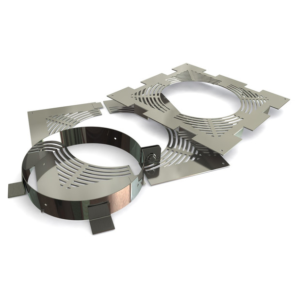 """7"""" Ventilated Fire-stop Support Set Stainless Steel Twin Wall"""