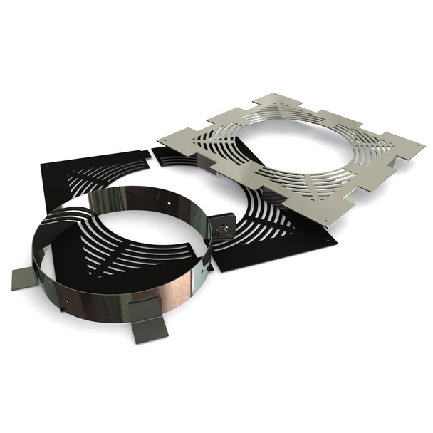 """7"""" Ventilated Fire-stop Support Set Black Twin Wall"""