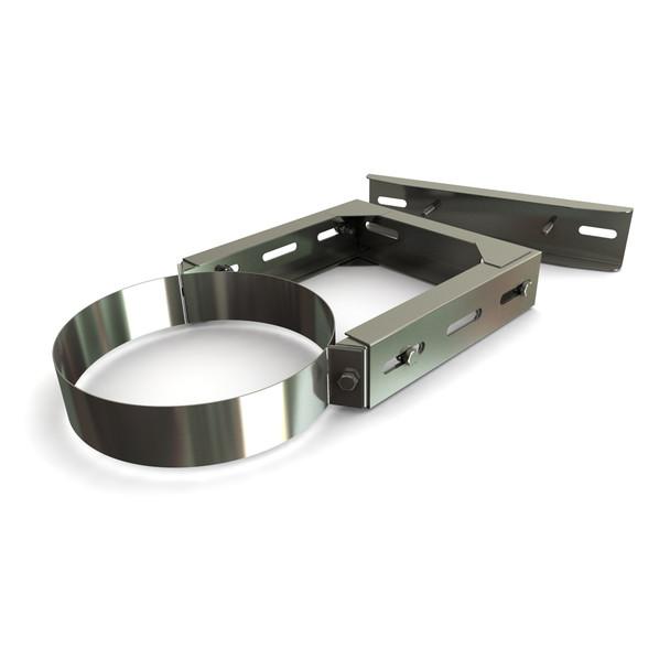 "225 - 385 mm Adjustable Wall Bracket Stainless Steel Twin Wall 8"" -"