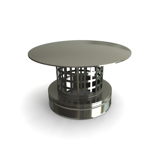 """6"""" Rain Cap With Mesh Stainless Steel Twin Wall"""