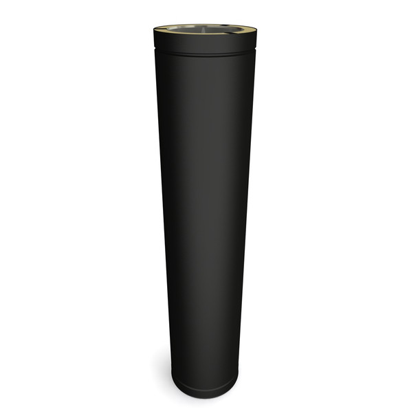 "5"" Matt Black Twin Wall Flue Cuttable Length L1000"