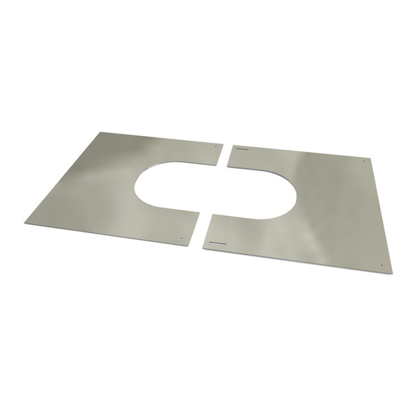 """6"""" Stainless Steel Twin Wall Flue 2 Part Square Finishing Plate 45 - 60 Degrees"""