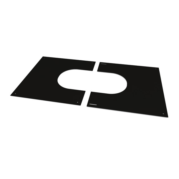 "6"" Matt Black Twin Wall Flue 2 Part Square Finishing Plate 45 - 60 Degrees"