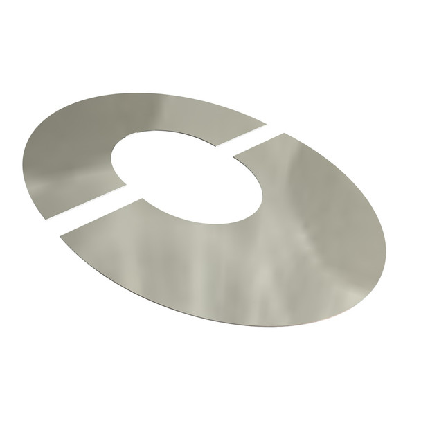 """5"""" Stainless Steel Twin Wall Flue 2 Part Wide Round Finishing Plate 45 Degrees"""