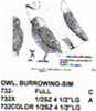 Burrowing Owl Standing Carving Pattern showing the Owl with it's head forward in a standing position.
