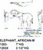 """African Elephant Standing-Trunk Over Head 3 1/2"""" High"""