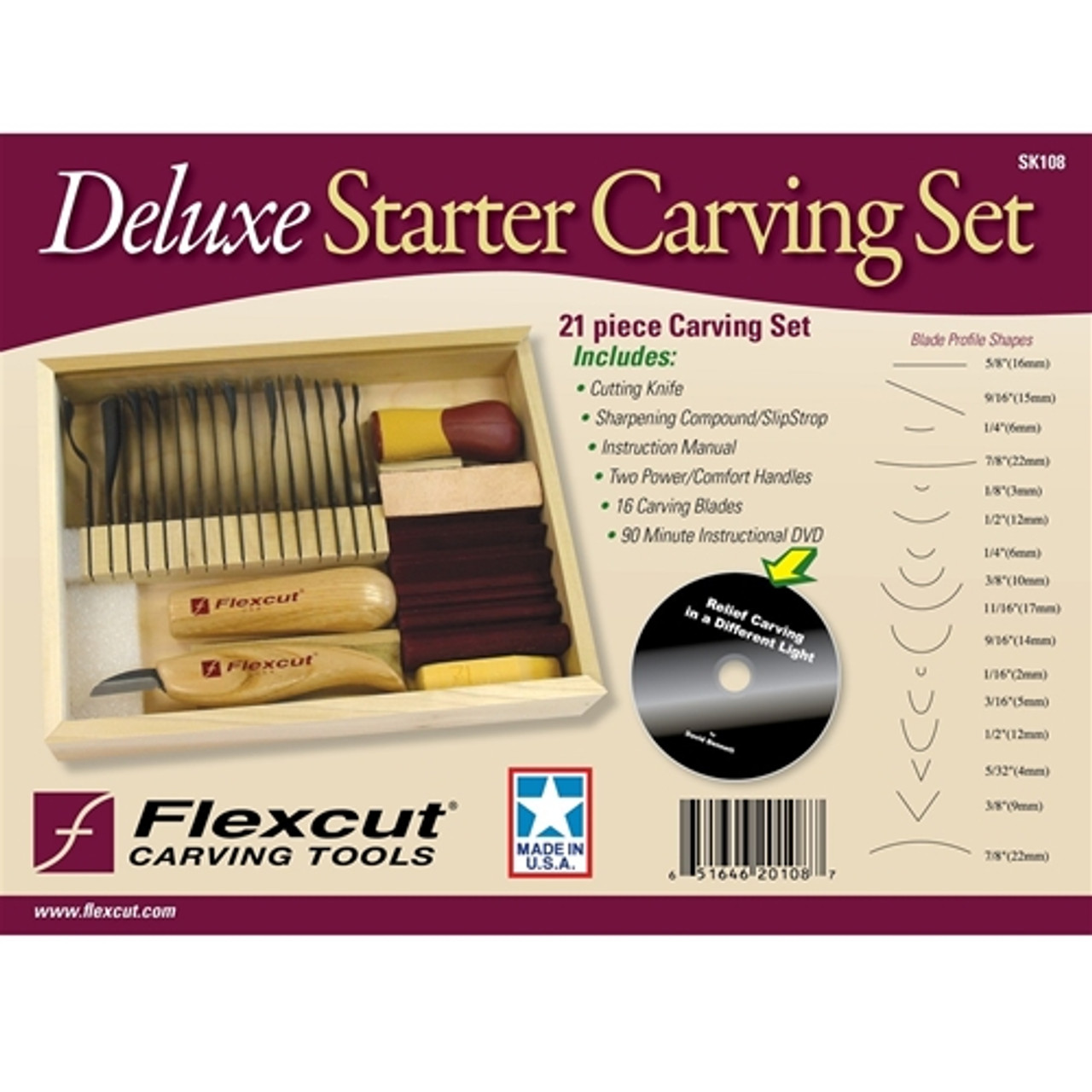 Flexcut 21 Pc. Deluxe Starter Set  cover showing carving tools that are in the set.