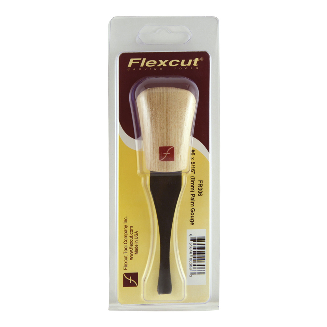"Flexcut FR306 Palm Carving Gouge #6 x 5/16"" shown in it's original package."