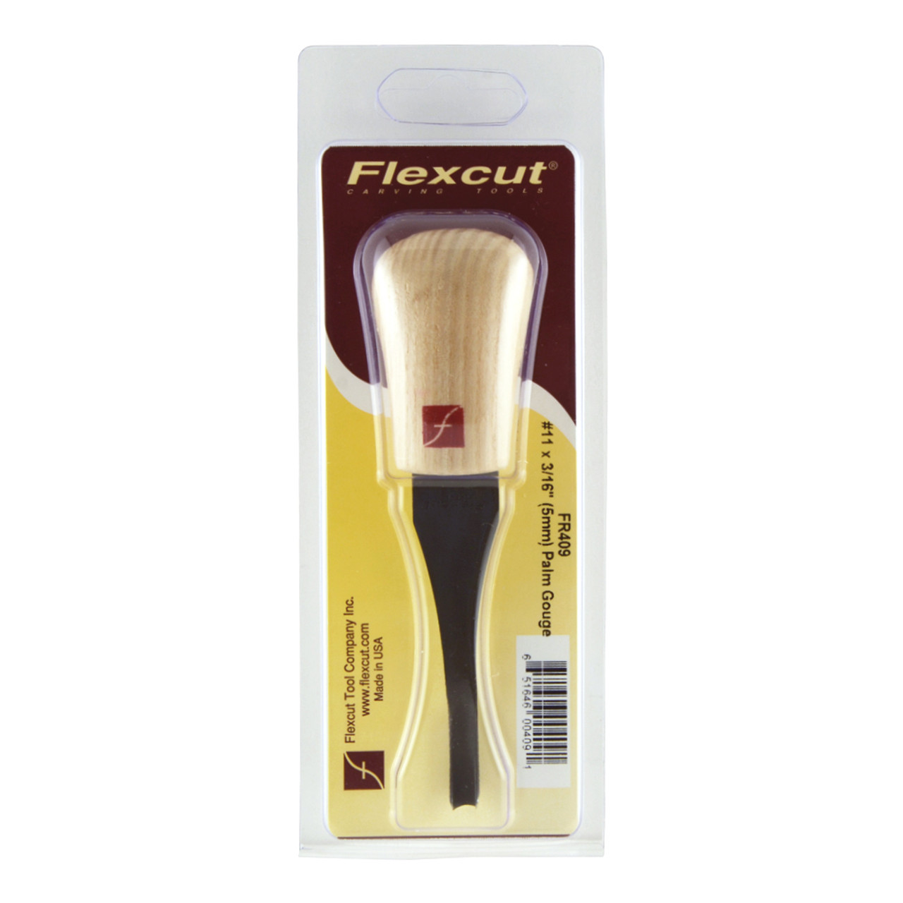 """Flexcut FR409 Palm Carving  #11 x 3/16"""" Gouge shown in the original package."""
