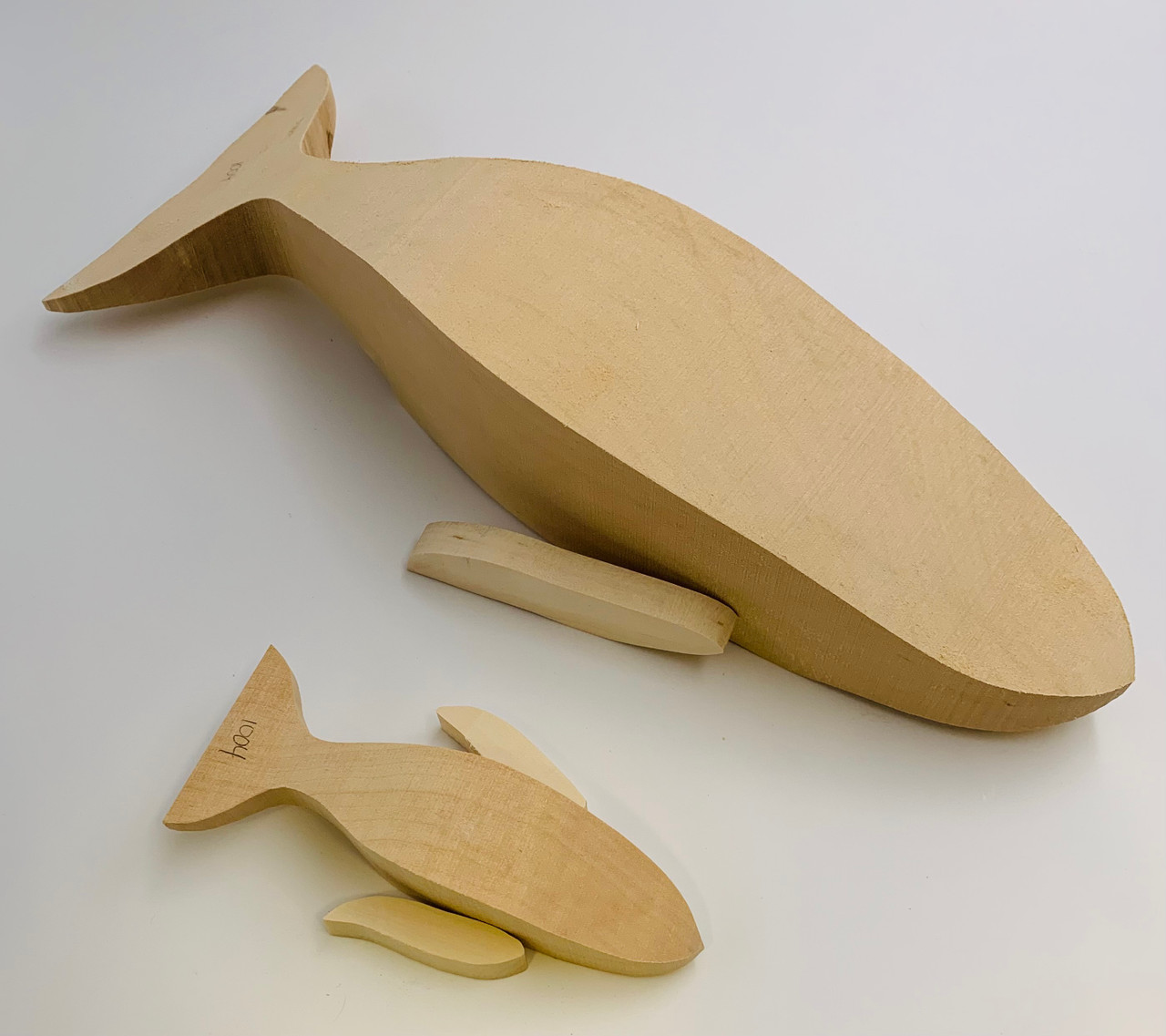 Humpback Whale and Calf Basswood Cutout