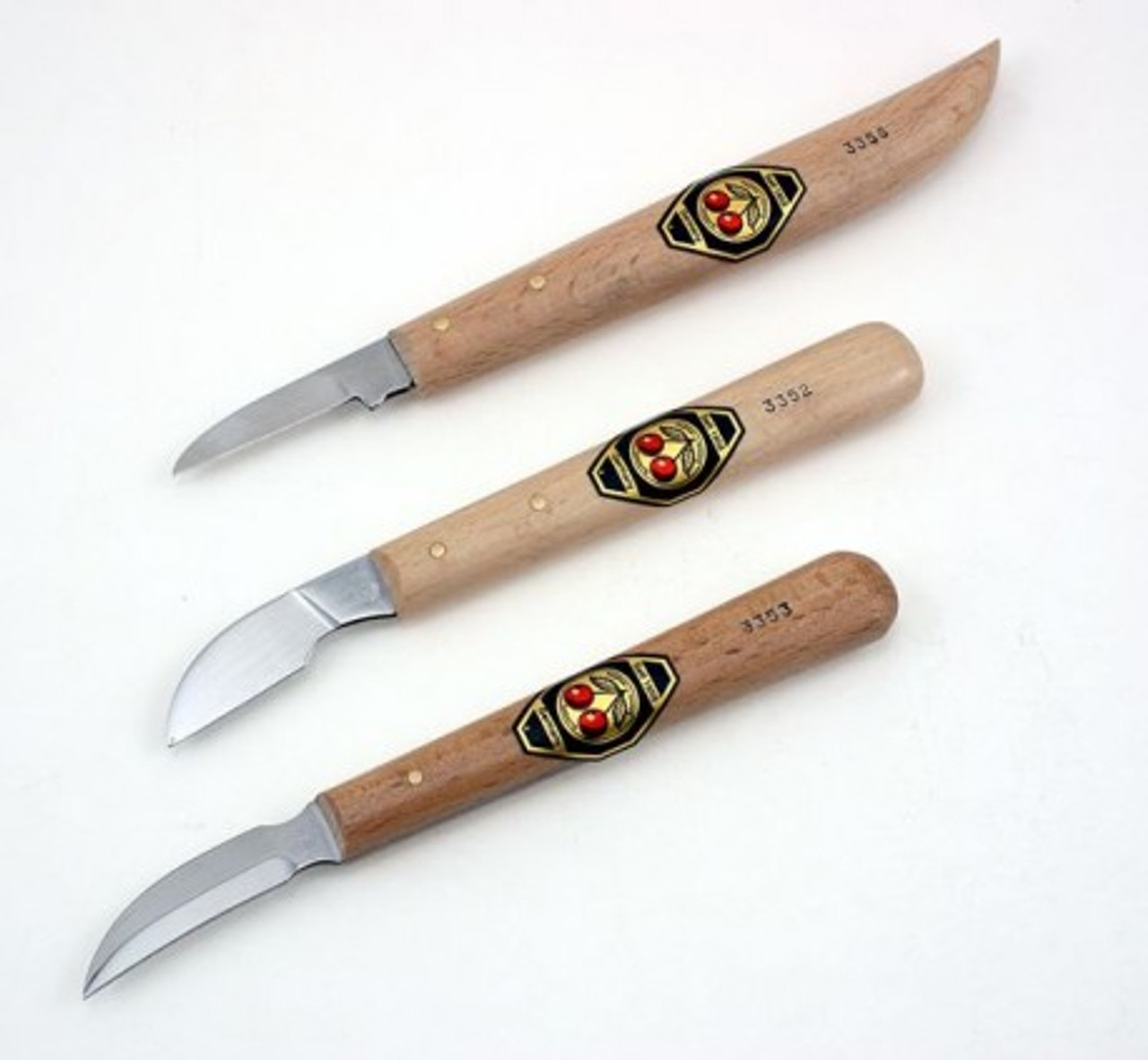 Two Cherries Set of 3 Chip Carving Knives showing all three of the chip carving knives.