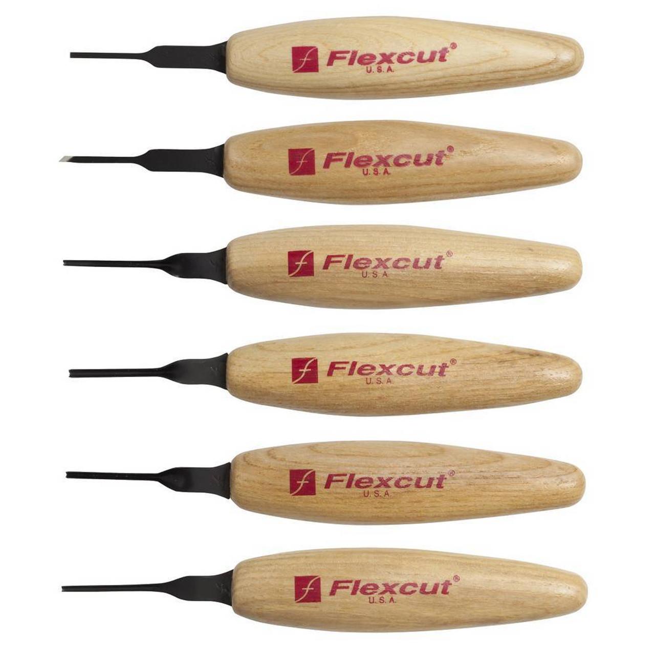 "Flexcut MT910 Mixed Profile Micro Tool Set, showing six different 1.5mm Micro Tools. MT11 1/16"" (1.5mm) Chisel, MT15 1/16"" (1.5mm) Micro Skew, MT19 1.5mm Micro Sweep, MT27 1.5mm Micro Deep U-Gouge, MT31 1.5mm 45° Micro Parting Tool, MT39 1.5mm 90° Micro Parting Tool."