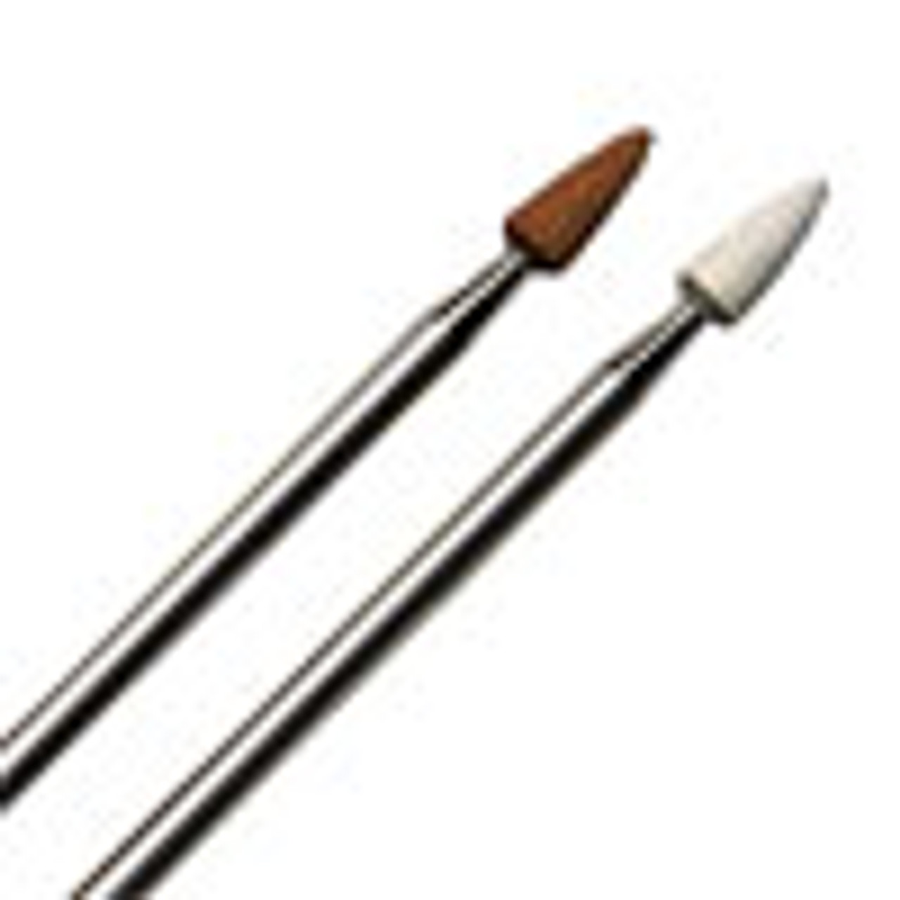 """Aluminum Oxide Point Flame 1/8"""" (Red) 120 grit and (White) 400 grit."""