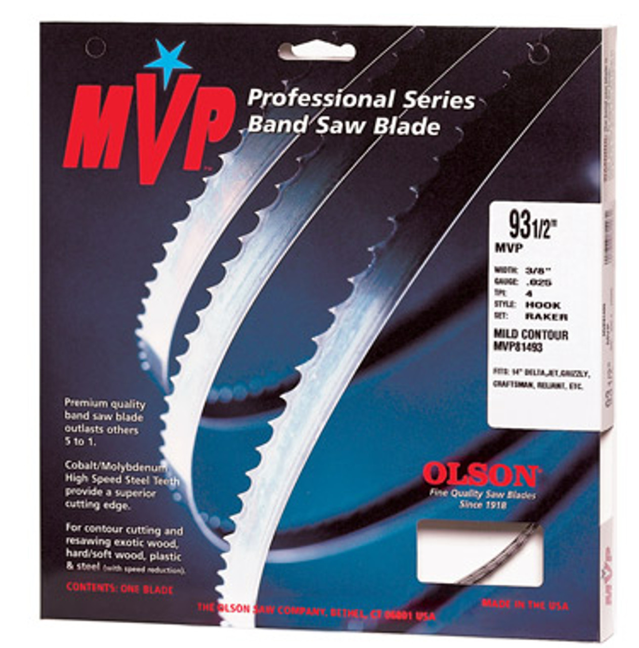 Olson MVP Band Saw Blades shown in original package.