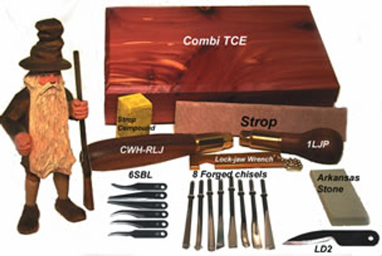 Warren Combi TCE Interchangeable Carving Knife Set with interchangeable handles and blades shown in a wooden box.
