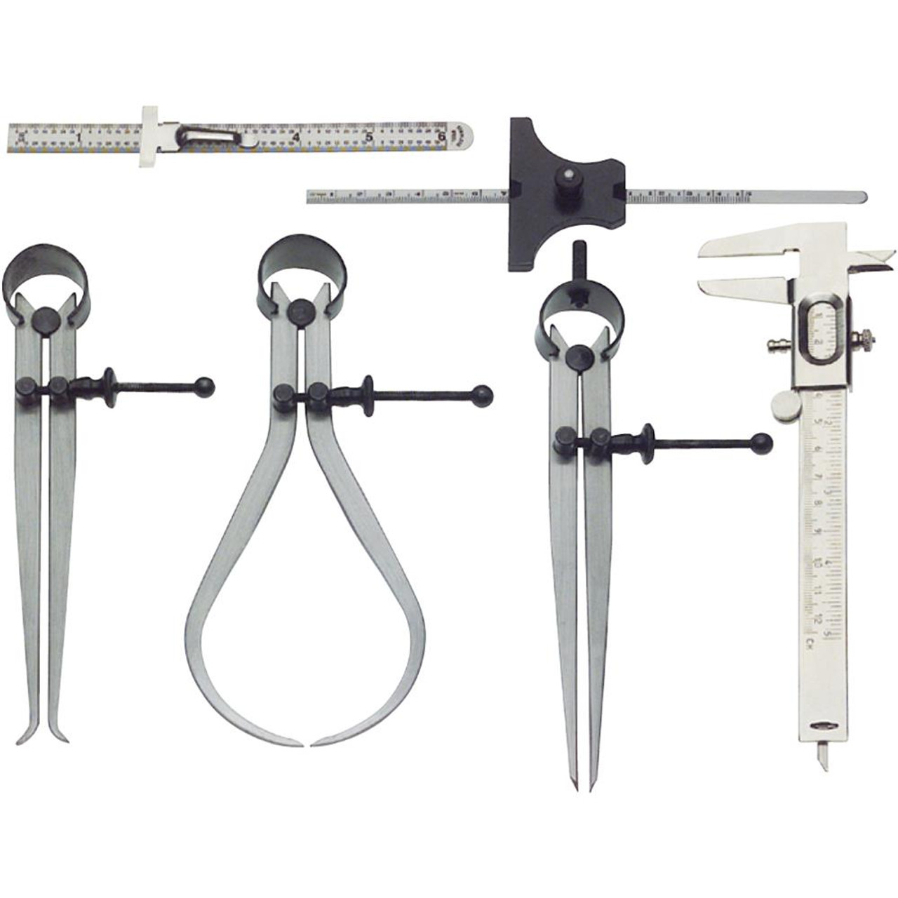 "6 Piece Measuring Set showing 6 tools, 6"" inside and outside calipers, 6"" divider, 6""scale with pocket clip, 5"" vernier caliper, 5"" depth gauge."