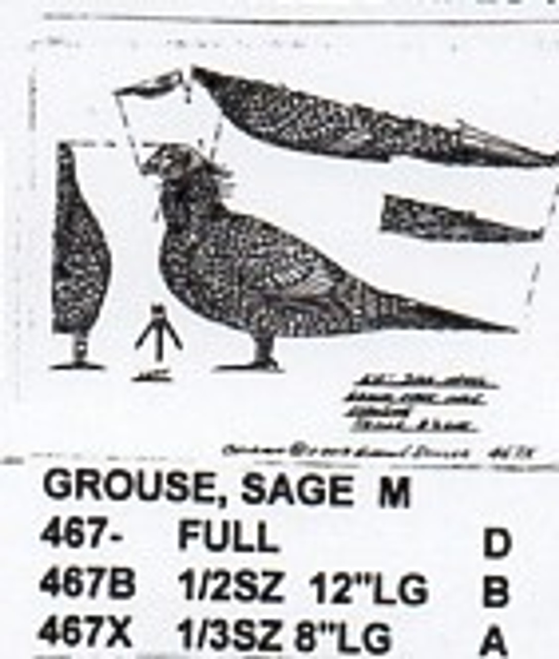 Sage Grouse Standing Carving Pattern showing the male Grouse in a standing position.