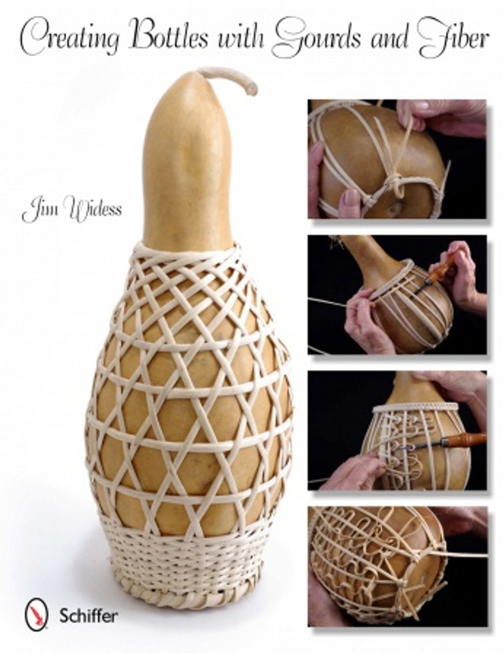 Creating Bottles With Gourds And Fiber showing the cover  with different styles of gourds and weaving fiber around them.