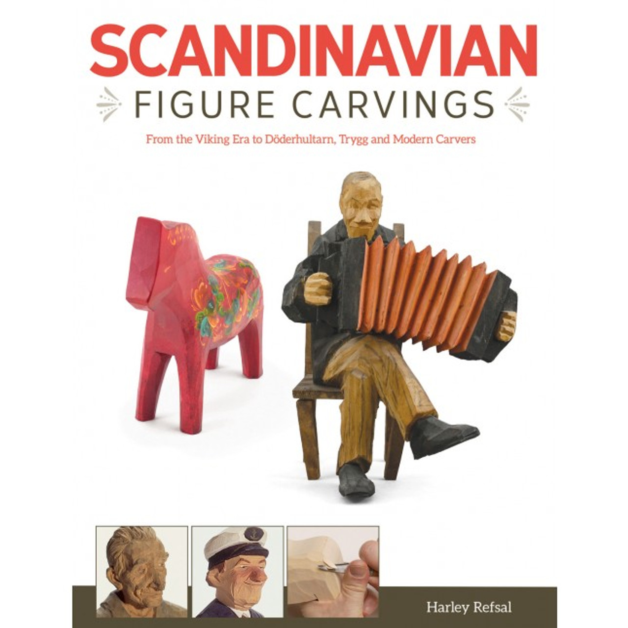Scandinavian Figure Carvings showing a carving of a man with an Accordion.
