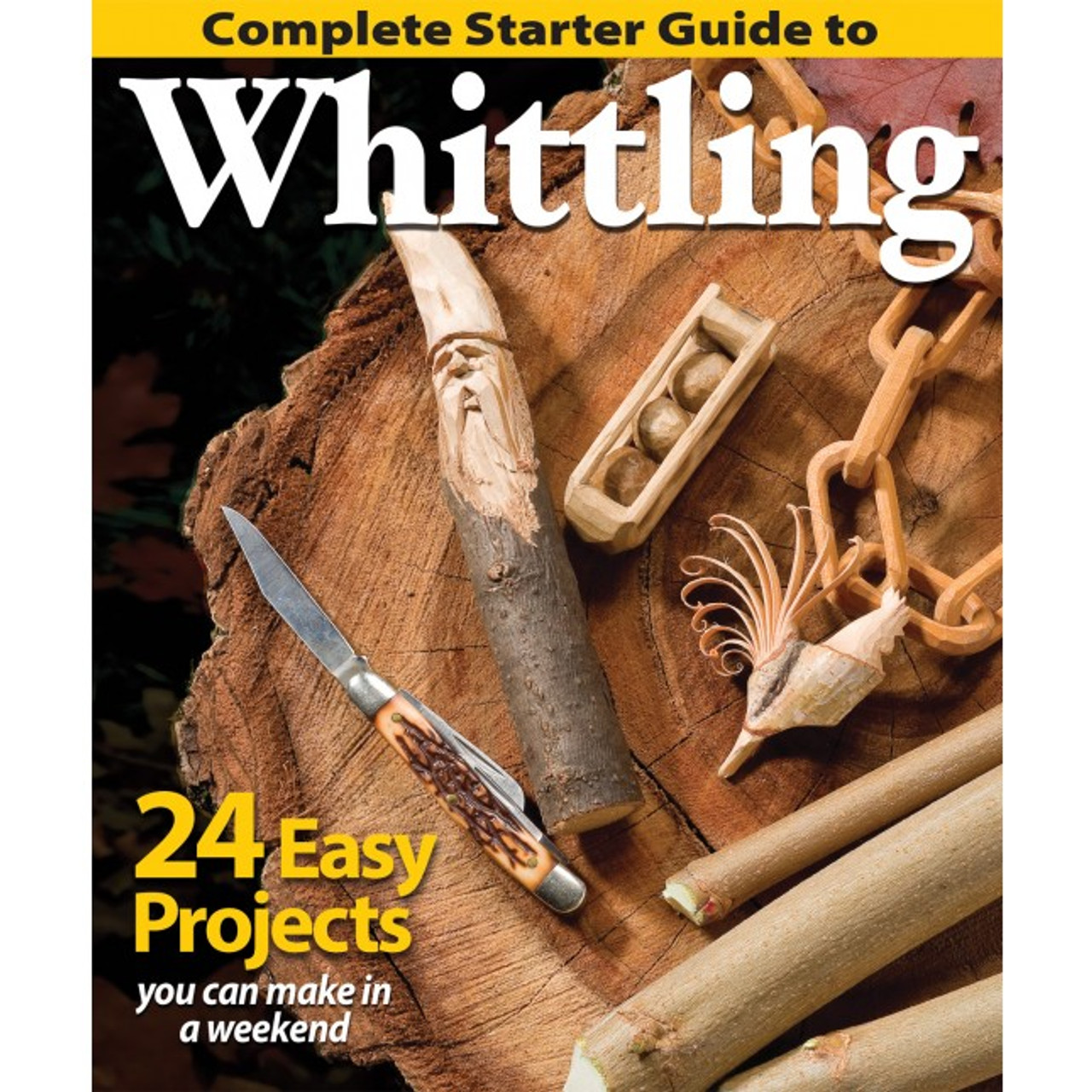 Complete Starter Guide To Whittling showing a wood spirit, balls in a box, and a chain made from wood with a pocket knife.