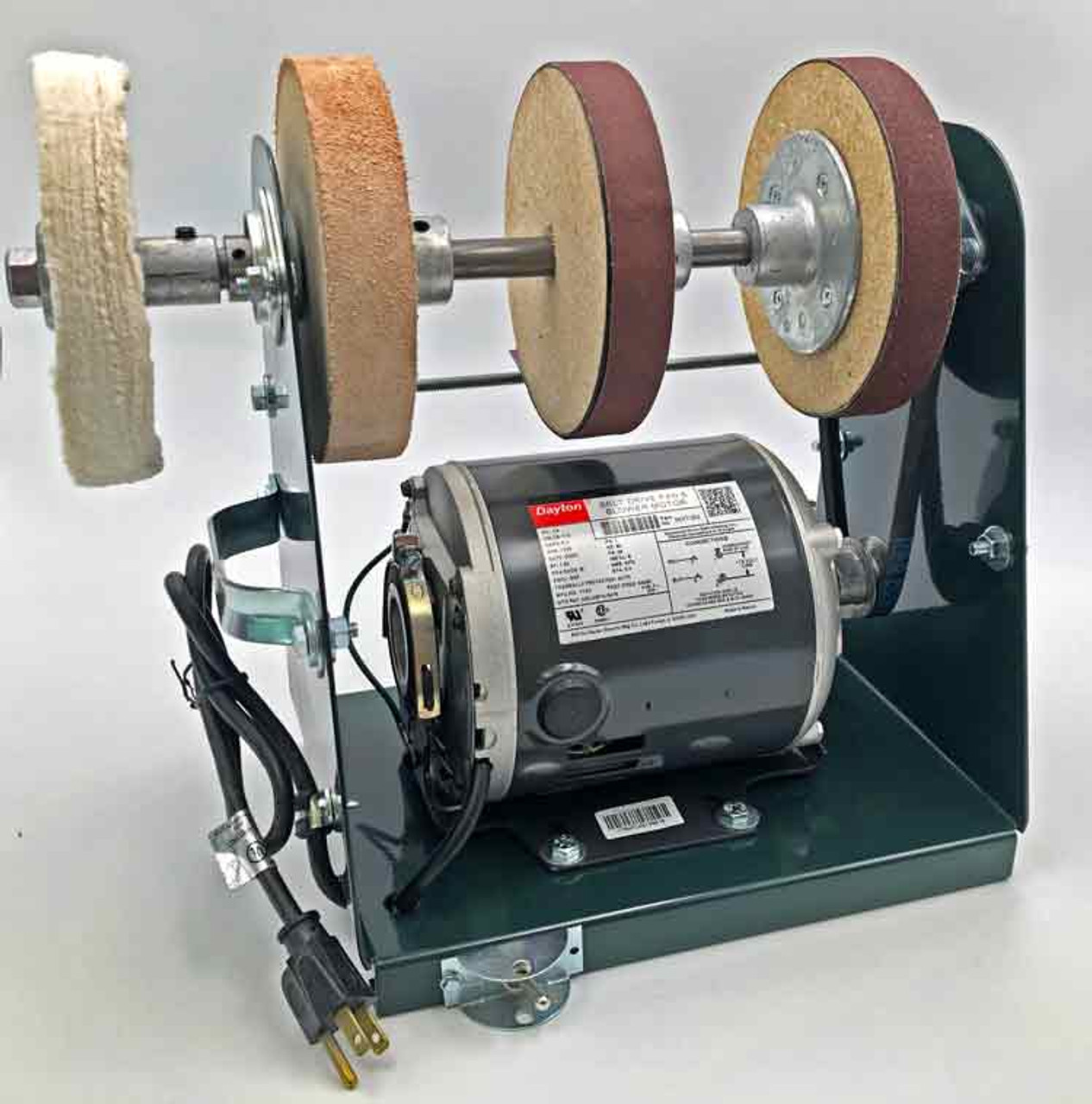 Burke Tote Sharpener showing the front left portion of the sharpener with the sharpening wheels in place.