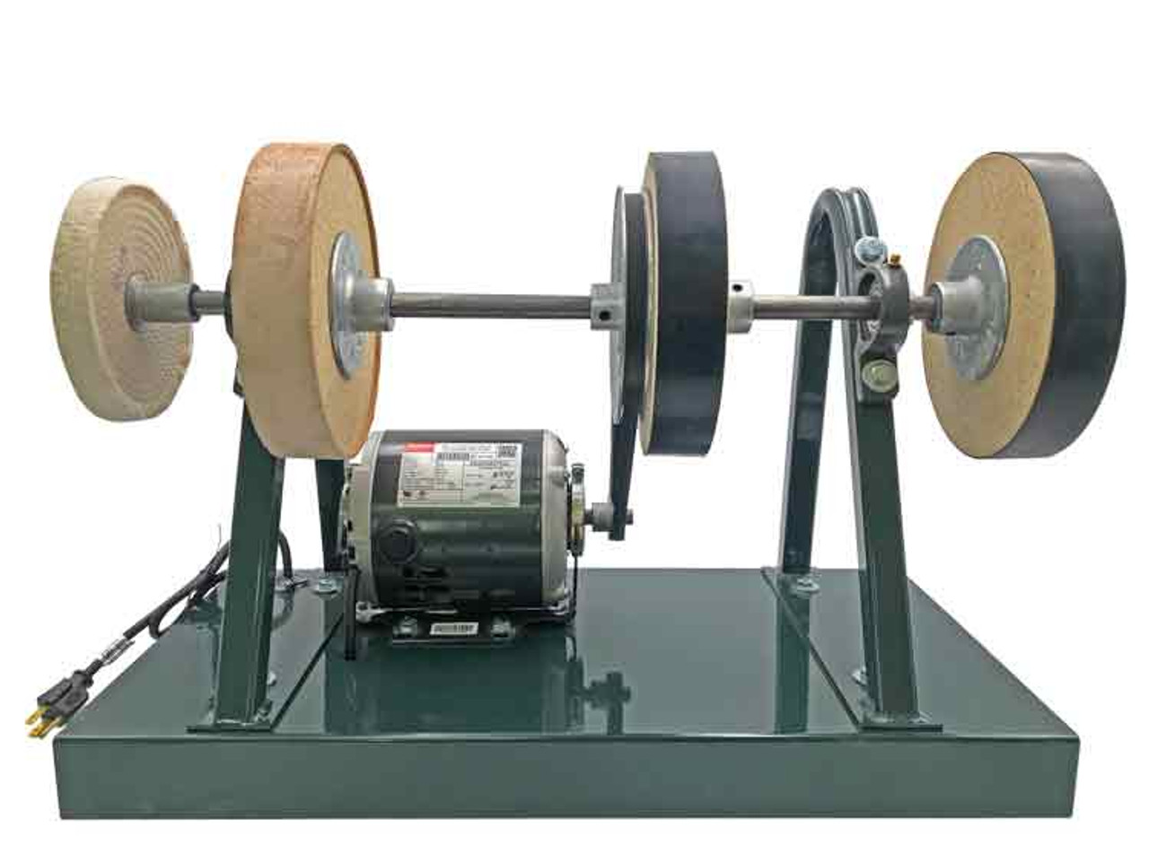 Burke Original Sharpening System shown complete from the front view with frame, motor, Sharpening wheels, Stropping wheel and buffing wheel.