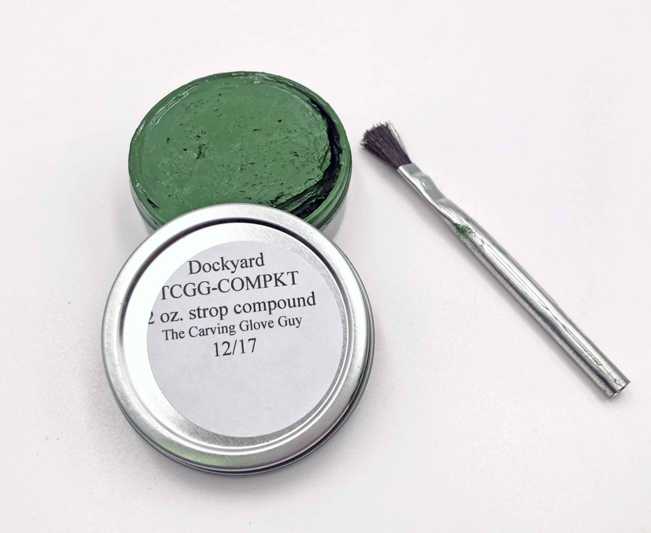 Dockyard Tool Strop Goop in the can with the lid off to show the goop along with the included brush.