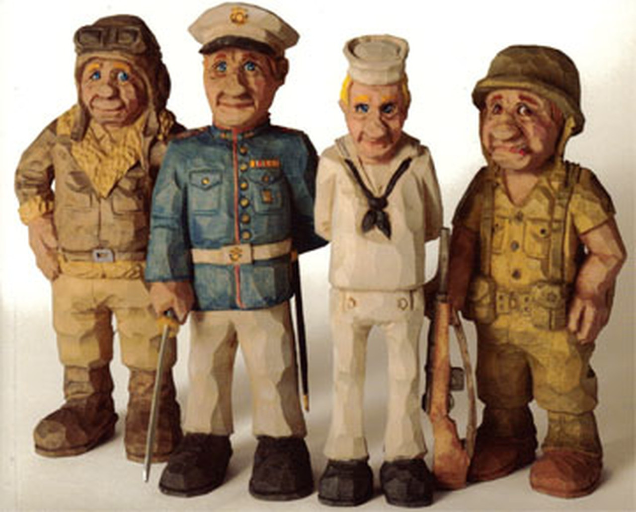 Soldiers carved by Floyd Rhadigan that are featured in his Carving Caricature Soldiers book.