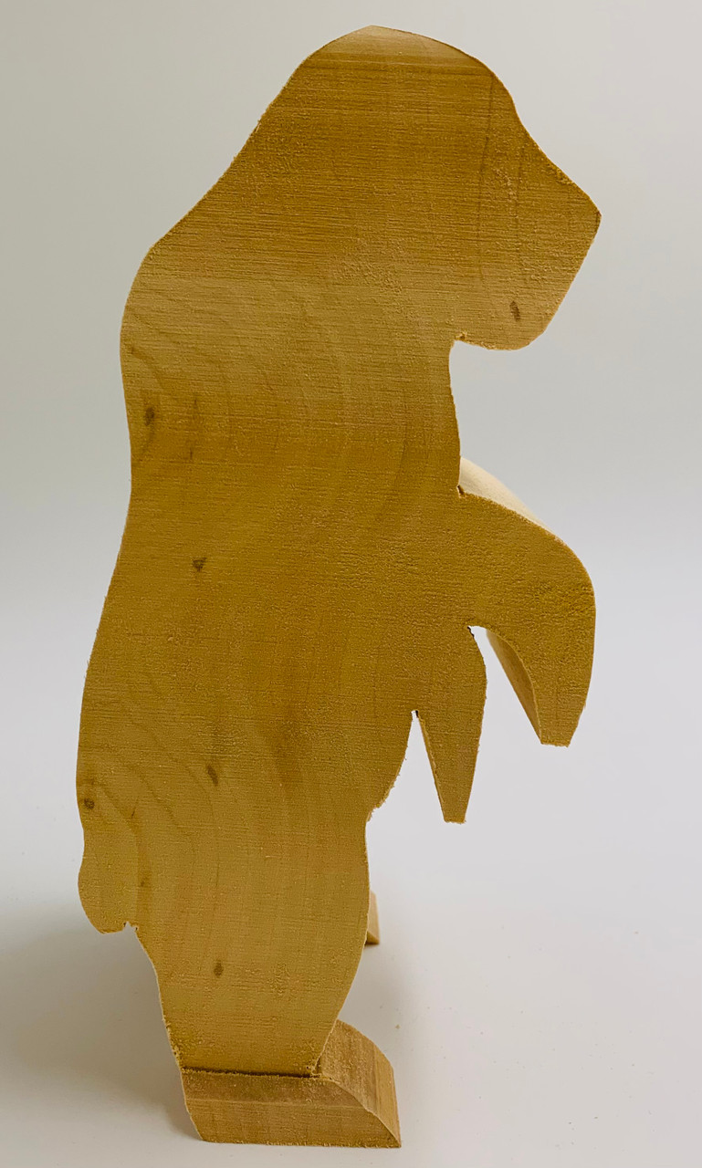 Grizzly Standing Basswood Cutout 9 high showing the side profile of the Grizzly.