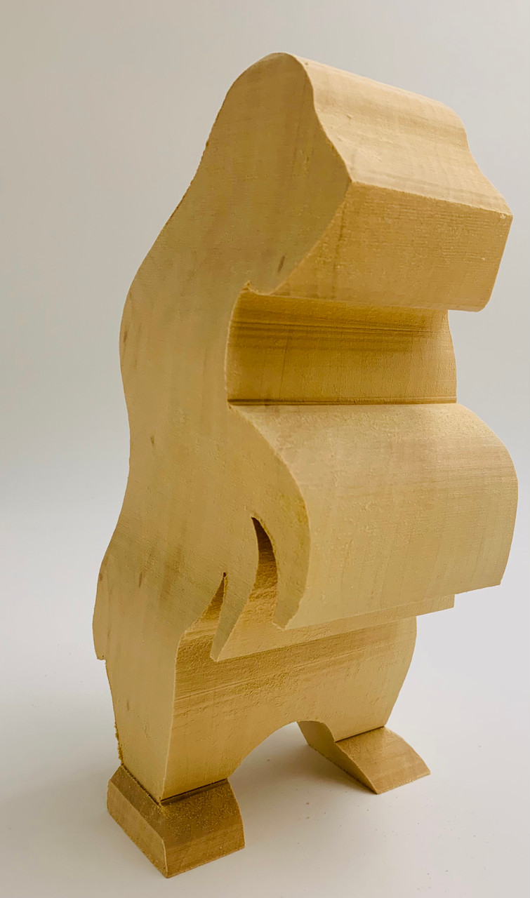 Grizzly Standing Basswood Cutout 9 high showing an image of the front profile.