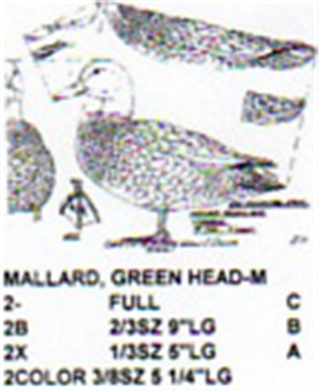 Green Head Mallard Male Standing Carving Pattern shows the full size  Green Head Male Mallard carving pattern.