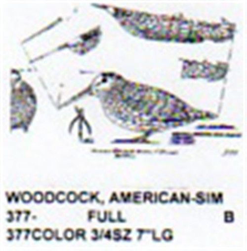 American Woodcock Crouched Carving Pattern showing the unisex American Woodcock in a crouched position.