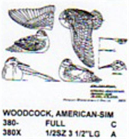 American Woodcock Preening Carving Pattern showing the wood carving pattern of a American Woodcock preening on land.