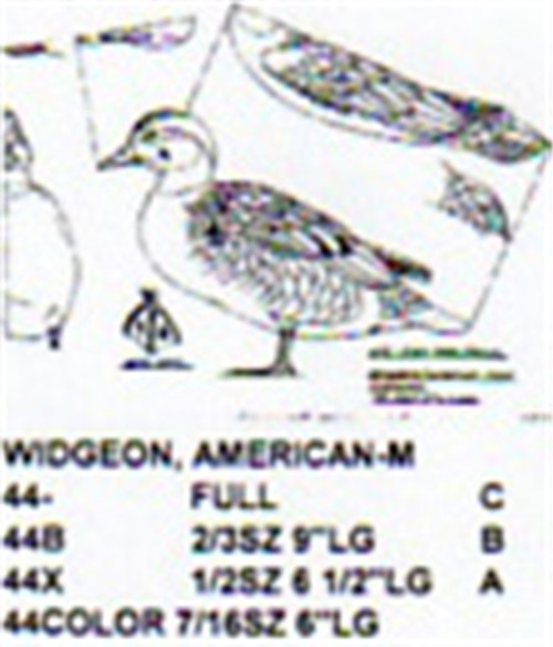 Baldpate American Widgeon  Standing Carving Pattern sowing the Stiller pattern.